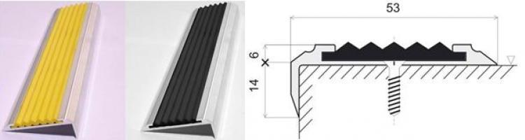 лайсни за стъпала лайсни с гумена вложка профили за стълбища с гумена вложка