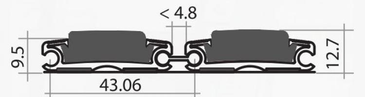 Серия HD 40 mm. алуминиеви профили за изтривалки почистващи системи с вложки мокет и гума изтривалки за вграждане в легло с алуминиеви профили с вложка
