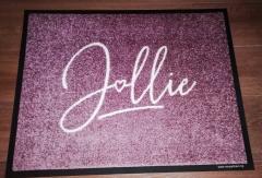 изтривалка с надпис стелка розова със сърце изработка на изтривалки