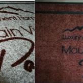 изработка на мокетени пътеки за хотел с лого